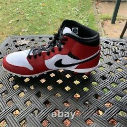 Air Jordan 1 Retro Mid TD'Chicago' Football Cleat Red New Size 12 AR5604-106