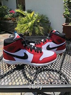 Air Jordan 1 Retro Mid TD'Chicago' Football Cleat Red New Size 9 AR5604-106