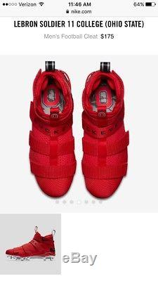 New Mens Nike Lebron 11 XI Soldier Ohio State Buckeyes Football Cleats Size 13
