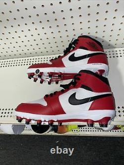 Nike Air Jordan 1 Mid TD Chicago Mens Football Cleats Size 10 White Red Black