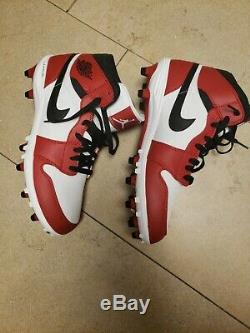 Nike Air Jordan 1 TD Mid Football Cleats Chicago White AR5604-106 Men's Size 11