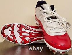 Nike Air Jordan XI 11 Low TD Football Cleats Cherry Red White Mens Size 13 NEW