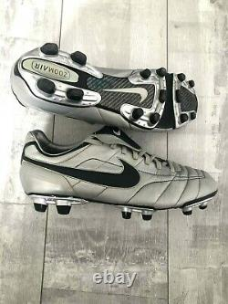Nike Tiempo Zoom Air Legend FG Football Boots Silver Leather Cleats US 10.5