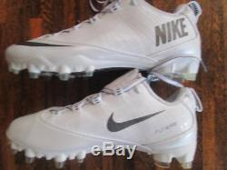 Nike Vapor Carbon Fly 2 TD Lacrosse Football Cleats sz 10.5 White / Silver-Gray
