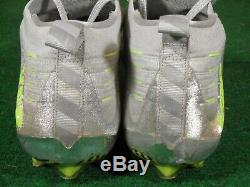 Used Nike VPR Vapor Ultimate Low TD Football Cleats Silver Glitter Volt 10.5
